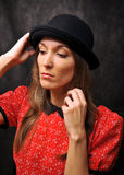 Portrait in bowler hat Royalty Free Stock Image