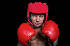 Portrait of boxer with gloves and headgear Stock Image