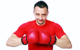 Portrait of a boxer with his gloves together Royalty Free Stock Photo