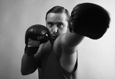 Portrait of boxer stylised under olden time Stock Photo