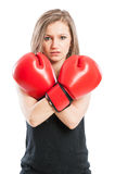 Portrait of a boxer woman crossing the arms Stock Image