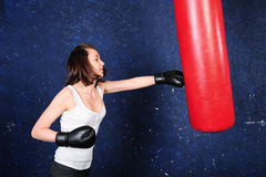 Portrait of a boxing girl Royalty Free Stock Photography