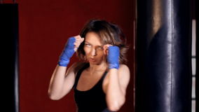 The portrait of the boxing girl. HD.