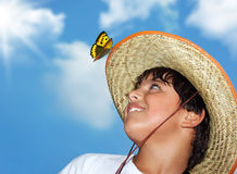 Portrait of a boy. Portrait of a young beautiful boy over blue sky stock images