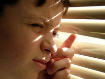 Portrait of the boy. The boy looks in a window Stock Images