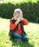 Portrait of a boy. With Cameras Royalty Free Stock Image