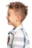 Portrait of boy. Profile portrait of young boy, isolated on white background Royalty Free Stock Image