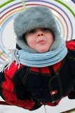 Portrait of the boy. Portrait child in warm cloth Royalty Free Stock Photography