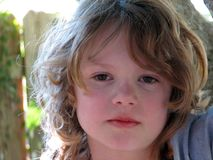 Portrait of a Boy. Portrait of a ten years old boy with long hair royalty free stock photography