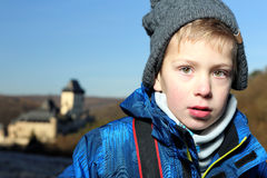 Portrait of the boy with anorak and stocking cap Royalty Free Stock Photography