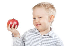 Portrait of a Boy with Apple in Hand Stock Images
