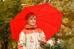 Portrait of boy in autumn park Royalty Free Stock Photos
