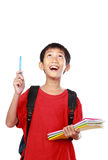 Portrait of boy with backpack pointing Royalty Free Stock Image