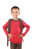 Portrait of boy with backpack smiling Royalty Free Stock Images