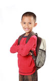 Portrait of boy with backpack smiling Stock Photos