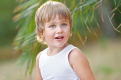 Portrait of a boy on the beach Stock Images