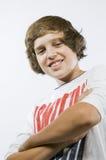 Portrait of boy from below Stock Image
