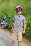 Portrait of boy bicyclist with helmet Stock Photography
