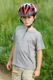 Portrait of boy bicyclist with helmet Stock Photo