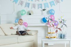 Portrait boy with birthday cake.  Royalty Free Stock Photos