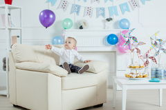 Portrait boy with birthday cake Royalty Free Stock Images