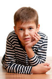 Portrait of a boy in a black and white shirt Stock Photo