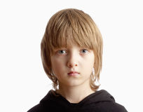 Portrait of a Boy with Blond Hair Looking Stock Image