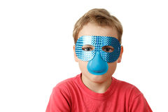 Portrait of boy in blue mask on white Stock Photography