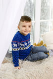 Portrait of a boy in a blue sweater Royalty Free Stock Photos