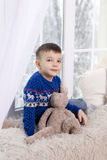 Portrait of a boy in a blue sweater royalty free stock images