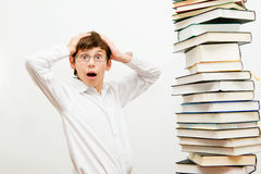 Portrait of a boy with books. Royalty Free Stock Photo
