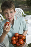 Portrait Of Boy With Bowl Of Tomatoes Royalty Free Stock Images