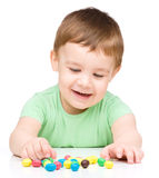 Portrait of a boy with candies Royalty Free Stock Image