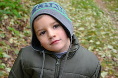 Portrait of a boy. In a cap autumn children Royalty Free Stock Image
