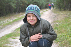 Portrait of a boy. In a cap autumn children stock photos