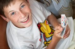 Portrait of a boy with cards Stock Photography