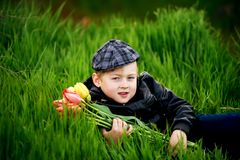 Portrait of a boy , a child holding a bouquet of flowers. Lying on grass Royalty Free Stock Image