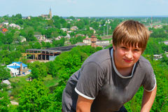 Portrait of a boy on a city background Stock Photos