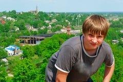 Portrait of a boy on a city background Stock Photos