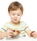 Portrait of a boy with cookies stock photo