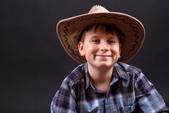 Portrait of a boy in a cowboy hat Royalty Free Stock Photos