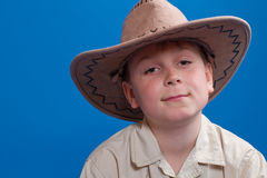 Portrait of a boy in a cowboy hat Royalty Free Stock Image