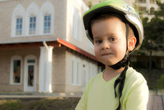 Portrait of a boy in a cycling helmet Royalty Free Stock Photography