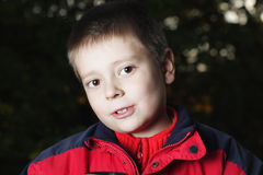 Portrait of boy in darkness Royalty Free Stock Photography