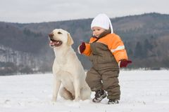 Portrait of boy with dog Royalty Free Stock Photo