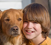Portrait of Boy and Dog stock photos