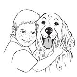 Portrait of a boy and dog Royalty Free Stock Photo