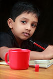 Portrait of a boy doing homework. In his study room Royalty Free Stock Photos