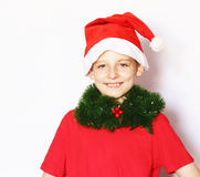 Portrait of a  boy dressed as Santa Stock Photography