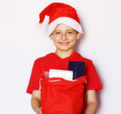 Portrait of a  boy dressed as Santa Stock Image